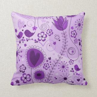 Whimsical garden in purple cushion