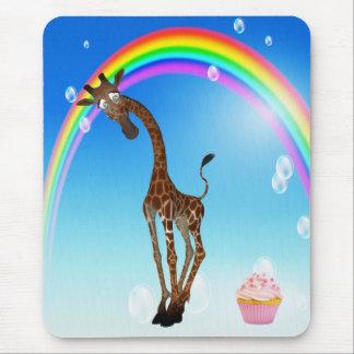 Whimsical Giraffe, Cupcake & Rainbow Mouse Pad