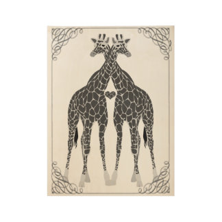 Whimsical Giraffe Love Wood Poster