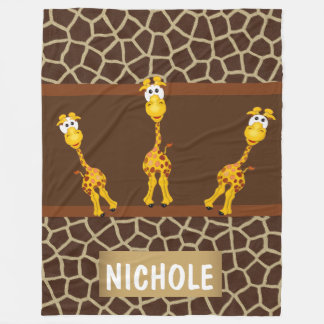Whimsical Giraffes on Fleece Blanket