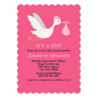 Whimsical Girl Stork Baby Shower 13 Cm X 18 Cm Invitation Card
