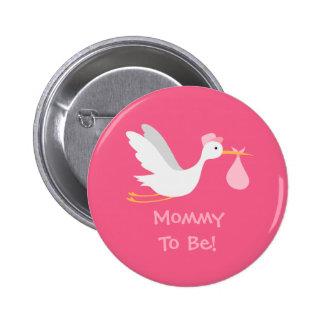 Whimsical Girl Stork Baby Shower 6 Cm Round Badge