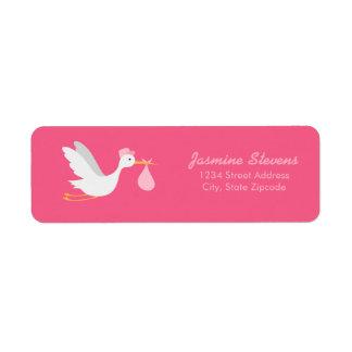 Whimsical Girl Stork Baby Shower Return Address Label