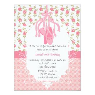 Whimsical Girly Floral Pink Ballerina Birthday 11 Cm X 14 Cm Invitation Card