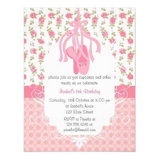 Whimsical Girly Floral Pink Ballerina Birthday Invitation