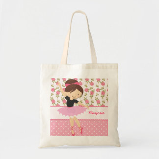 Whimsical Girly Floral Pink Ballerina Personalized Tote Bag
