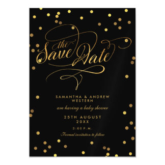 Whimsical Gold Confetti Baby Shower Save The Date Magnetic Card
