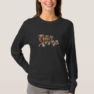 Whimsical Gold Owl Jewels on Branch T-Shirt