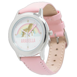 Whimsical Gold Unicorn Girl's Wristwatches