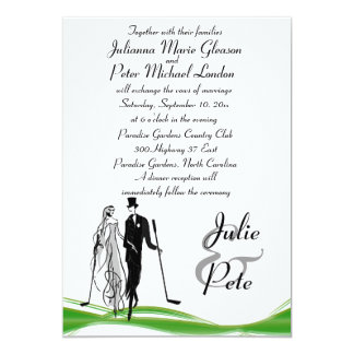 Whimsical Golfing Couple Wedding Invitations