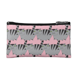 Whimsical Grey Tabby Cat Cosmetic Case in Pink Cosmetic Bag