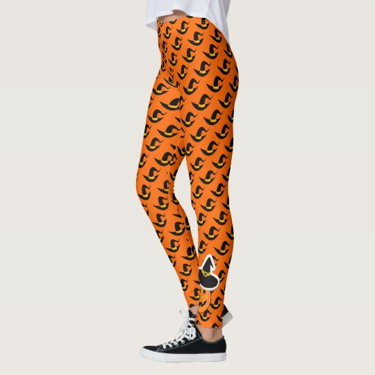 Whimsical Halloween Design Leggings, Witches Hats Leggings
