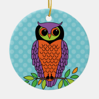 Whimsical Halloween Owl Personalized Ceramic Ornament