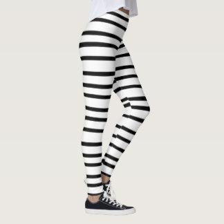 Whimsical Hand Drawn Black White Stripe Artistic Leggings