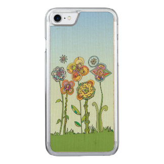 Whimsical, hand drawn flowers carved iPhone 8/7 case