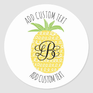 Whimsical Hand-drawn Pineapple Monogrammed Classic Round Sticker
