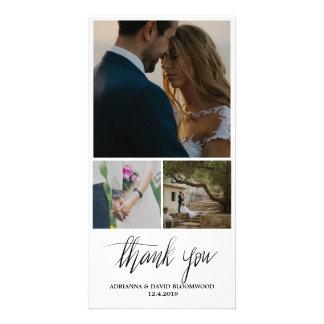 Whimsical Handwritten Thank You Wedding Three Card