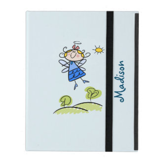 Whimsical Happy Flying Angel Fairy Personalized iPad Cover