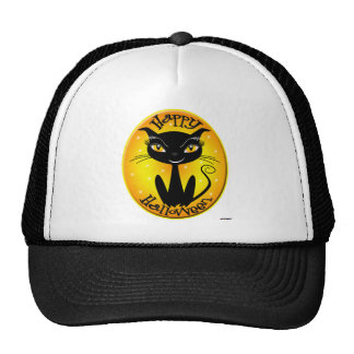 Whimsical Happy Halloween Cat with stars Cap