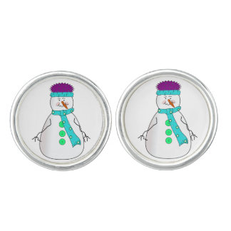 Whimsical Happy Mister Snowman Hat Scarf Buttons Cuff Links