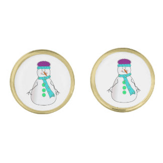 Whimsical Happy Mister Snowman Hat Scarf Buttons Gold Finish Cuff Links