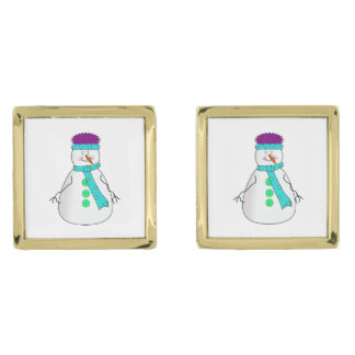 Whimsical Happy Mister Snowman Hat Scarf Buttons Gold Finish Cufflinks