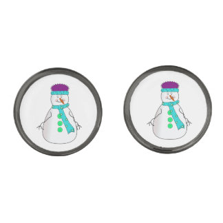 Whimsical Happy Mister Snowman Hat Scarf Buttons Gunmetal Finish Cuff Links