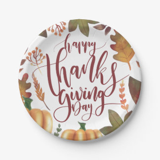 Whimsical Happy Thanksgiving Day | Paper Plate