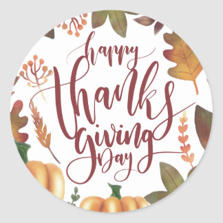 Whimsical Happy Thanksgiving Day | Sticker