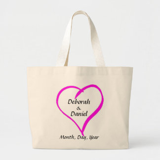 Whimsical Heart Bride and Grooms Names and Date Jumbo Tote Bag