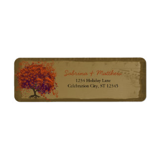 Whimsical Heart Leafed Tree Orange & Plum on Gold Return Address Label