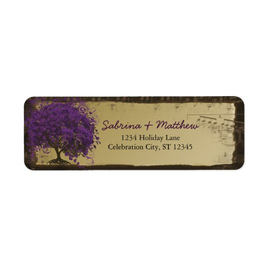 Whimsical Heart Leafed Tree Plum on Gold Return Address Label