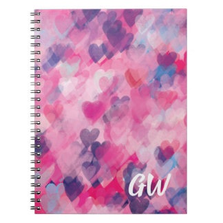 Whimsical Heart Pattern Monogram Chic Pink Love Notebook