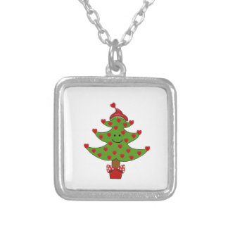 Whimsical Heart Tree Square Pendant Necklace