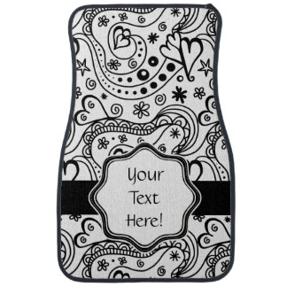 Whimsical Hearts and Love Sketch Doodle Pattern Car Mat