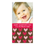 Whimsical Hearts Pink and Brown Valentine's Day Photo Cards