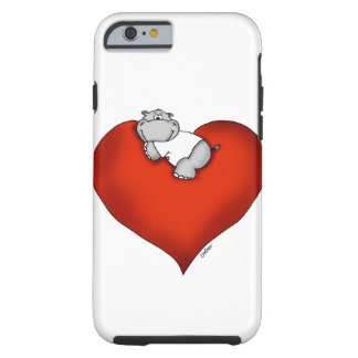 Whimsical Hippo on Heart Tough iPhone 6 Case