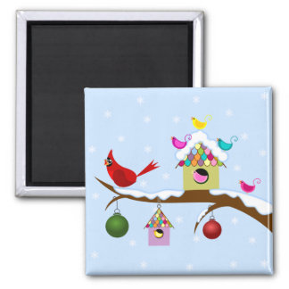 Whimsical Holiday Birds Magnet