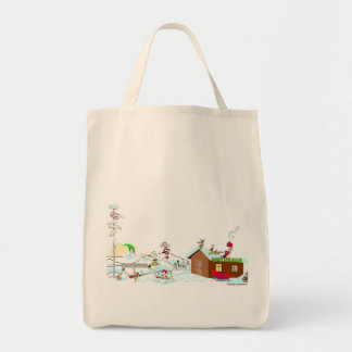 Whimsical Holiday Grocery Tote Bag