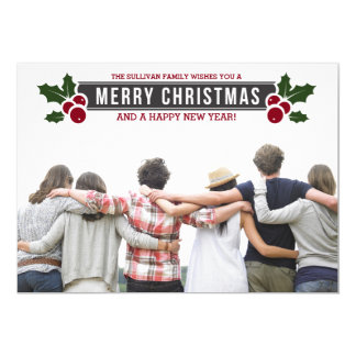 Whimsical Holly Holiday Photo Flat Card 13 Cm X 18 Cm Invitation Card