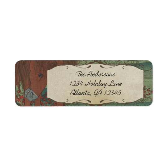 Whimsical Horse Red Flowers Return Address Label