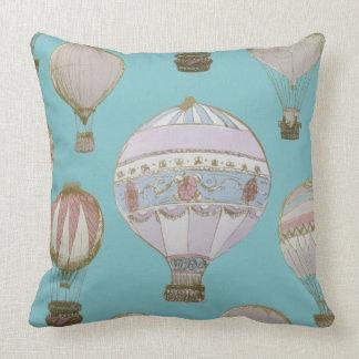 Whimsical Hot Air Balloon - Royal Blue Cushion