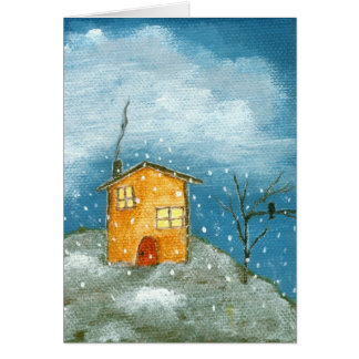 Whimsical House Snowstorm Tree Folk Art Painting Card
