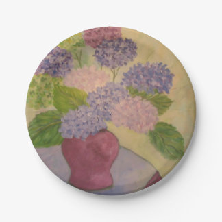 Whimsical Hydrangea Paper Plate