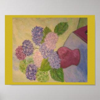 Whimsical Hydrangeas Poster