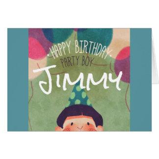 Whimsical Illustration Happy Birthday Party Boy Card