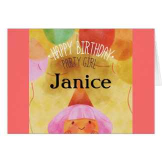 Whimsical Illustration Happy Birthday Party Girl Card