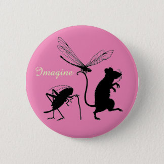 "Whimsical ""Imagine"" Button with Animal Friends"