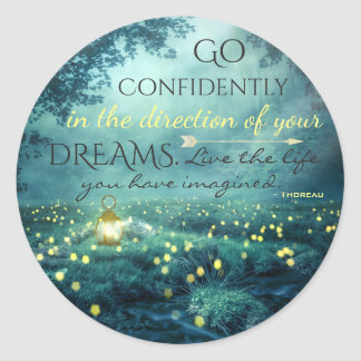 Whimsical Inspiring Dreams Quote Classic Round Sticker