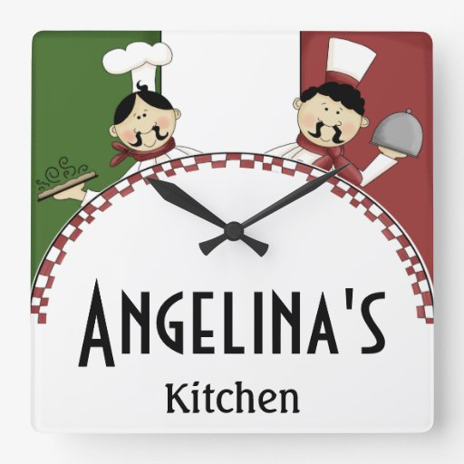 Whimsical Italian Chef Square Wall Clock